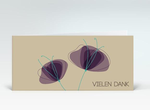 danksagung zwei mohnblumen in lila auf beige vielen dank designer. Black Bedroom Furniture Sets. Home Design Ideas