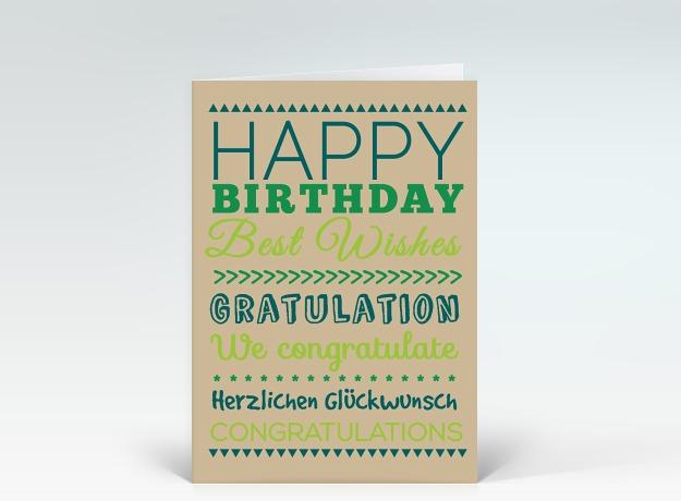 geburtstagskarte happy birthday typografisch gr n auf beige designer. Black Bedroom Furniture Sets. Home Design Ideas