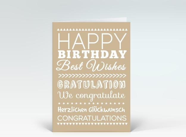 geburtstagskarte happy birthday typografisch wei auf beige designer. Black Bedroom Furniture Sets. Home Design Ideas