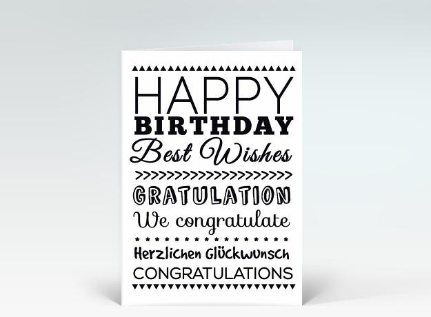 geburtstagskarte happy birthday typografisch schwarz wei. Black Bedroom Furniture Sets. Home Design Ideas
