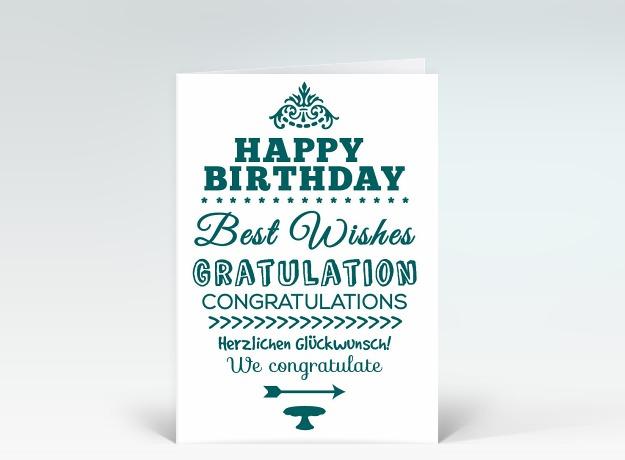 Happy Birthday Schriftart ~ Geburtstagskarte quot happy birthday typografisch in gr�n oval designer karten