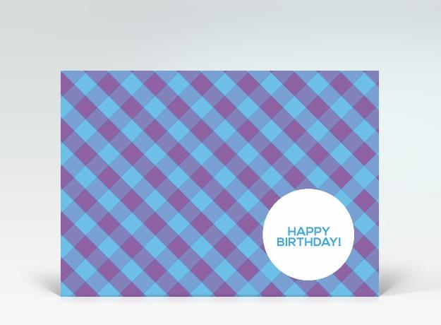 geburtstagskarte postkarte birthday kariert lila blau designer. Black Bedroom Furniture Sets. Home Design Ideas