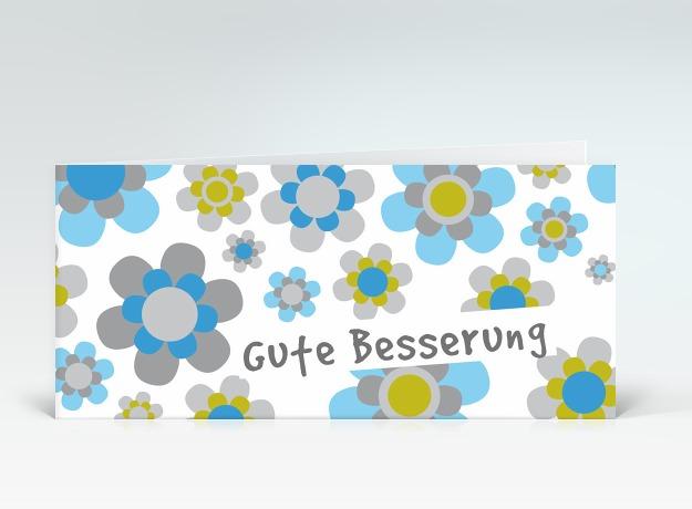 Genesungskarte Gute Besserung Flower-Power blau-grau Vorderseite
