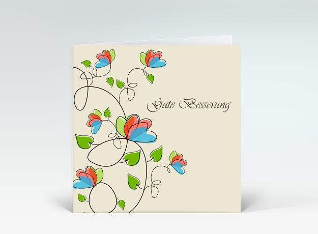genesungskarte quotblumenranken zur genesung in gr252n rot und