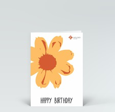 Geburtstagskarte: Happy Birthday Blume Pop-Art in orange