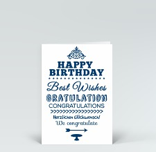 Geburtstagskarte: Happy Birthday typografisch in blau ovale Form